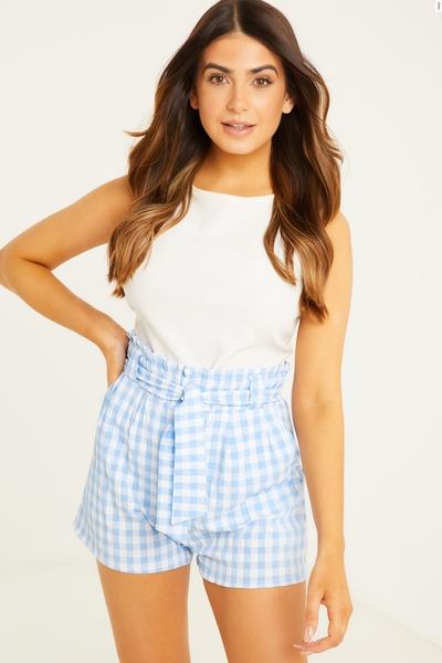 Petite Blue Gingham Shorts